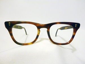 Marine Optical Vintage Men's Hybrid Eyeglass Frame in Demi Amber