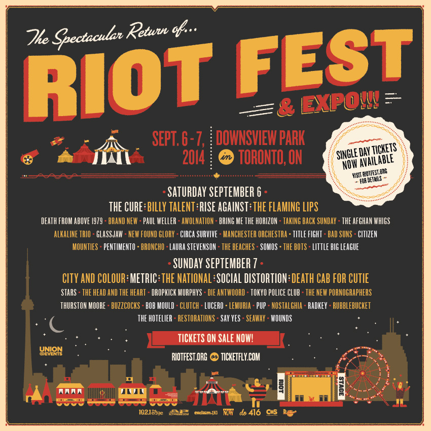 riot fest toronto announces by day band line up september 6 7 at downsview park thirty four. Black Bedroom Furniture Sets. Home Design Ideas
