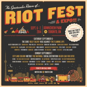 RIOT FEST TORONTO ANNOUNCES BY-DAY BAND LINE-UP (SEPTEMBER 6-7 AT DOWNSVIEW PARK)